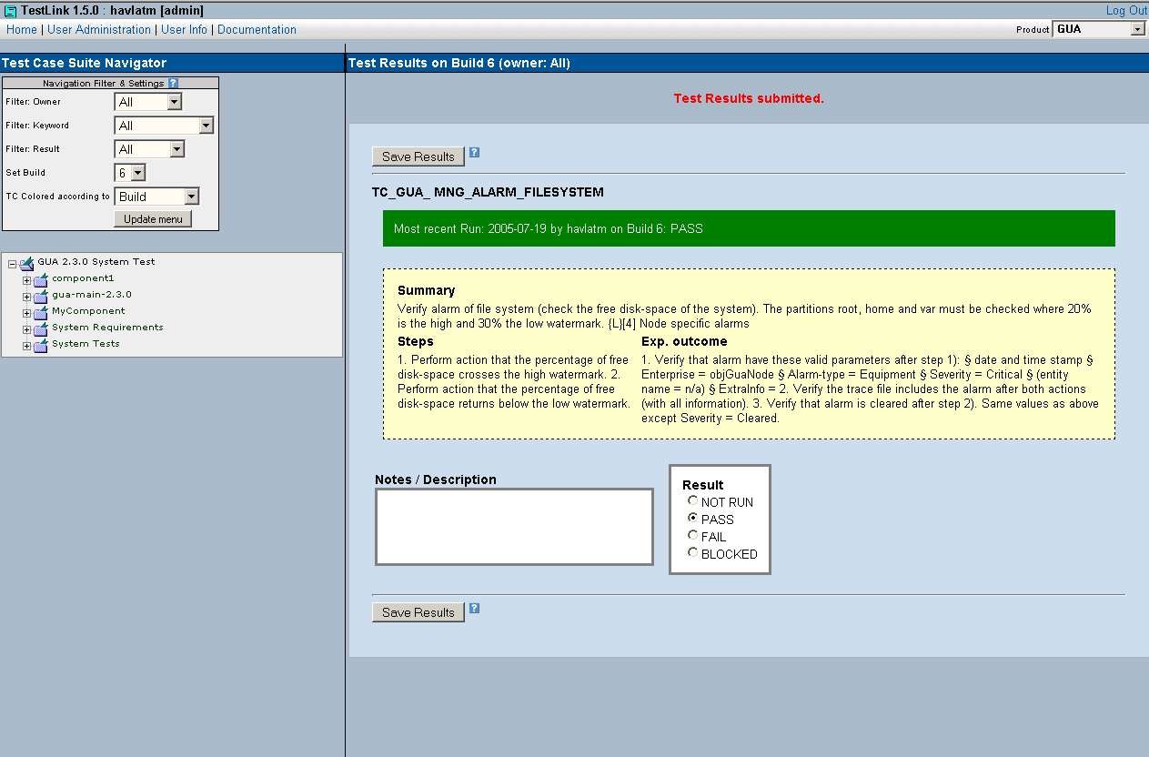 Screenshot of TestLink GUI